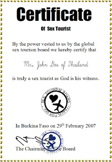 Sample certificate of Sex Tourist