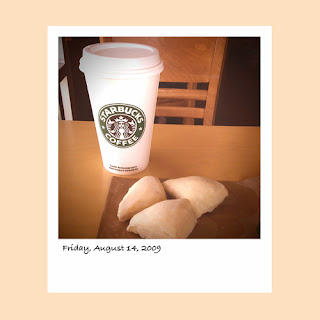 iPhone polaroid, Starbucks latte, scones