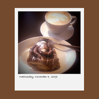 iPhone polaroid, breakfast, latte coffee, cinnamon roll