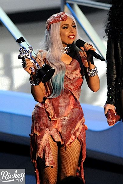 In the MTV VMA Award 2010 evening Lady Gaga was covered with meat. OMG!