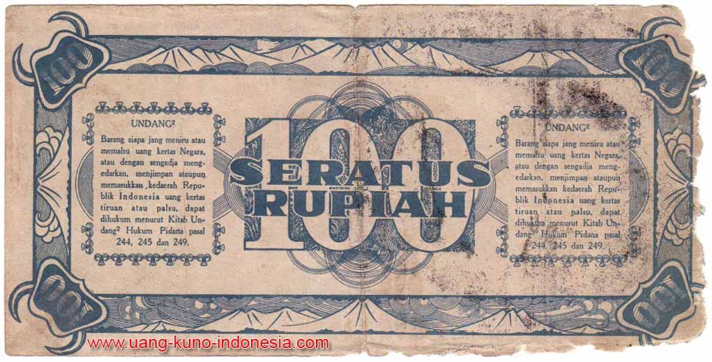 100 rupiah seri ori 1 1945 no seri 335505 st circulated