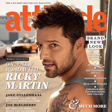 Pop singer Ricky Martin graces the cover of Attitude Magazine's January 2011