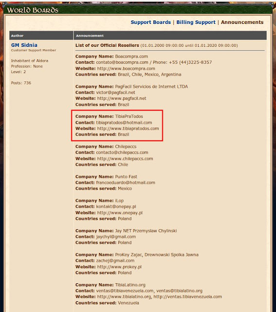 O Tibiapratodos agora é um revendedor oficial aprovado pela CipSoft.