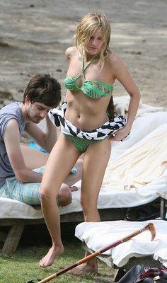 Ashlee Simpson sexy green bikini