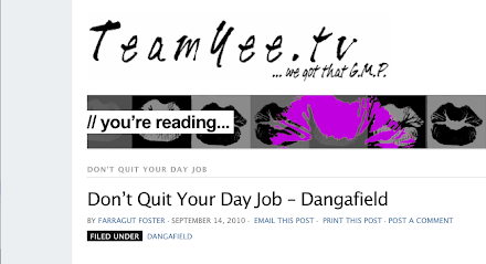 "Dangafield On Angela Yee's Sirius radio show""Don't quit your day job"""