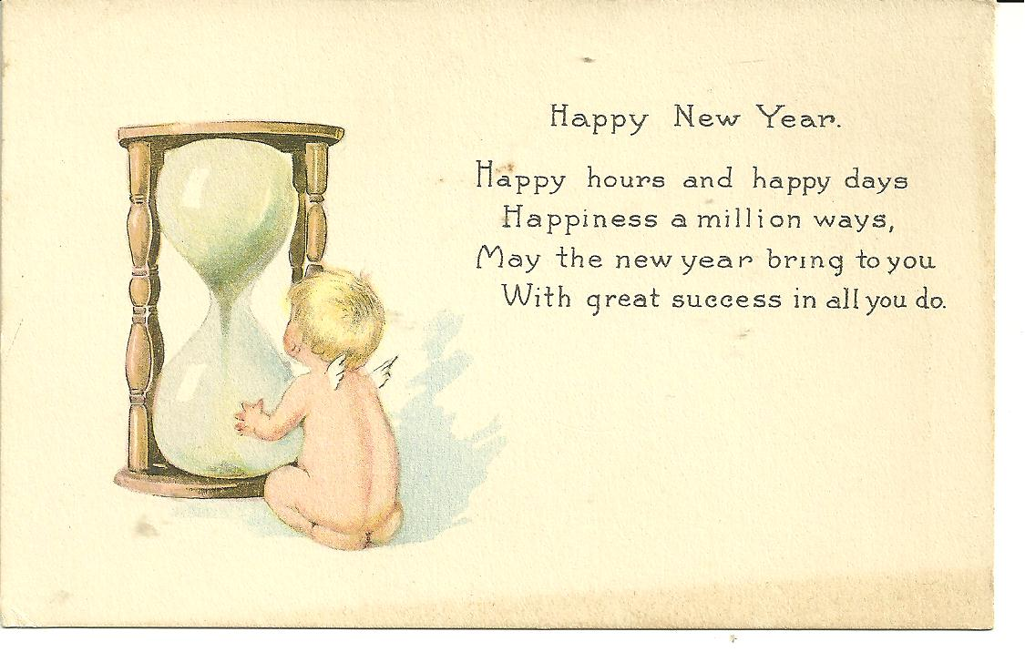 vintage new years post card watching the sands of time