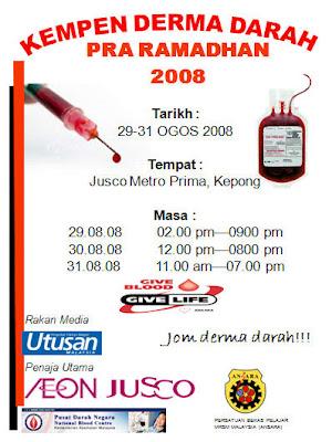 ansara terendak akan mengadakan kempen derma darah pra ramadhan di jusco prima kepong pada 29 ogos 2008 31 ogos 2008 untuk mendapatkan senarai 24 buah