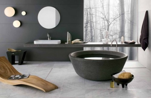 Best Bathroom Interior Using Stone Bathtubs