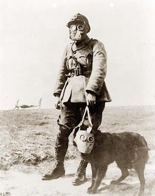 First World War Gas Mask. World War I wearing a gas