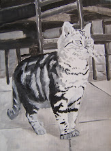 Muffy on alert , underpainting
