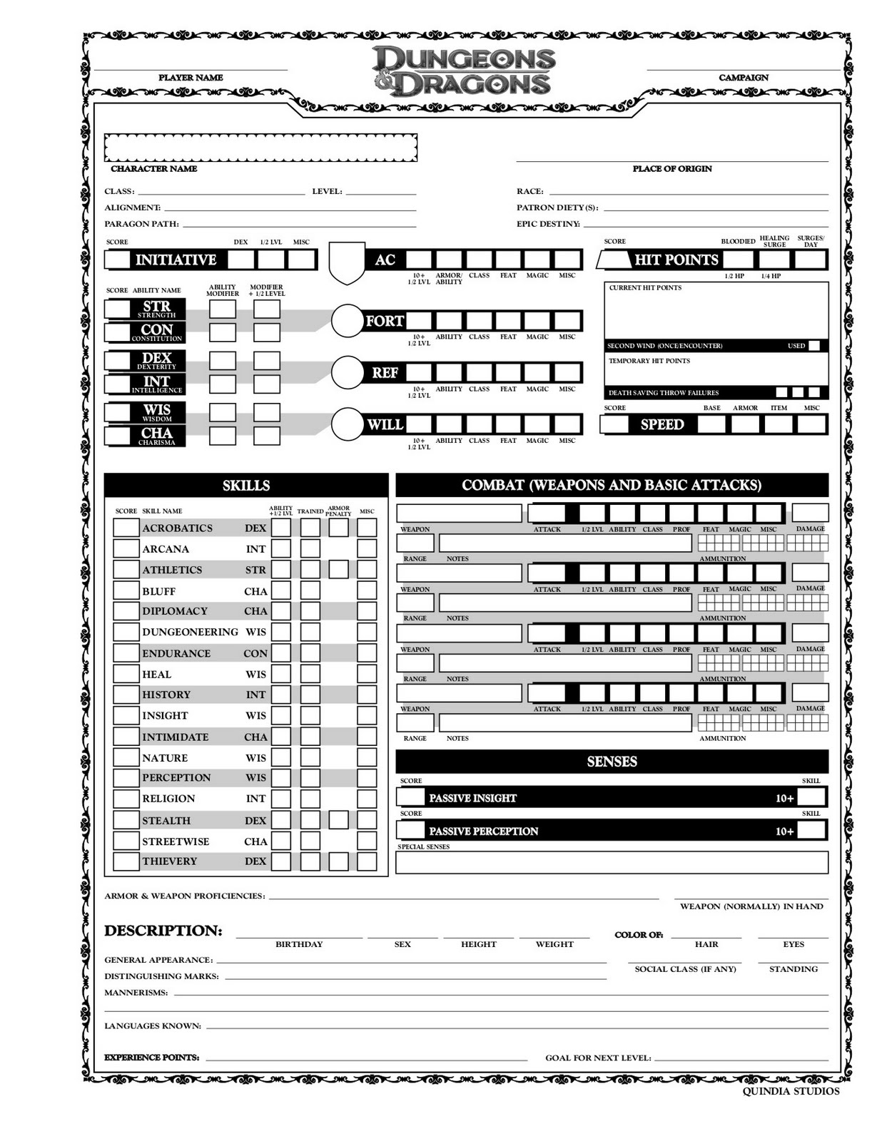 ad&d player character record sheets pdf