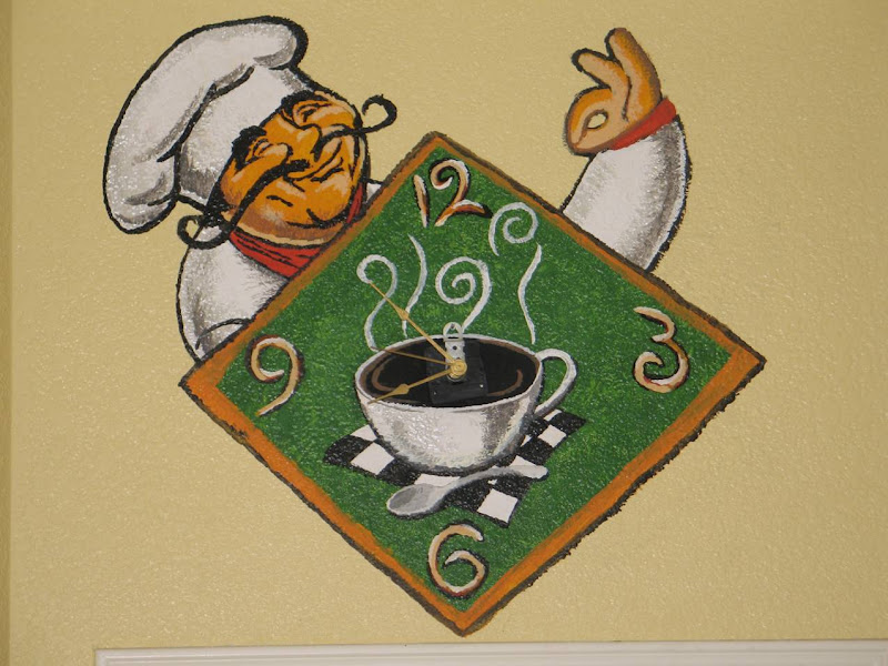 This is a wall clock that i painted in my kitchen since our theme is  title=