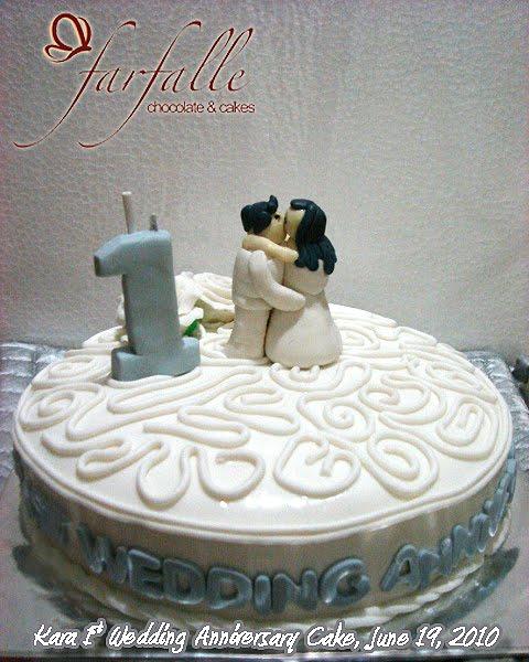 First Marriage Anniversary Cake Images : Farfalle Chocolate & Cakes: Kara 1st Wedding Anniversary Cake