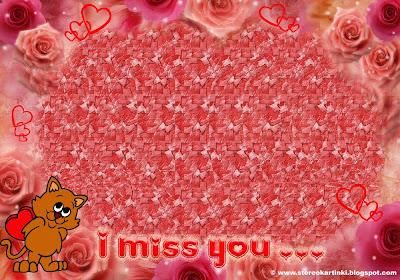 Оригинальная  Cтереокартинка - открытка: «I Miss You…»