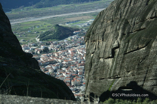 Kalabaka view through Meteora rocks