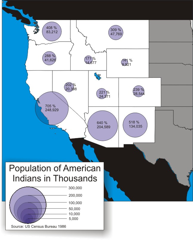 Circle Map Is A Proportional Circle Map That Ilrates Circles In Relation To Specific Ranges Of Data This Map Shows The Native American Population