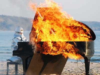 Japanese Musician Plays Burning Piano