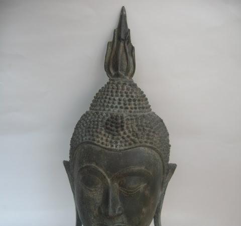 Vintage Bronze Buddha Head Statue
