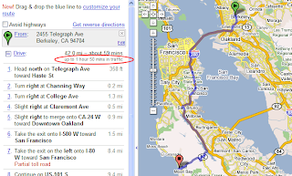 Google Lat Long: How long will it take at rush hour? on