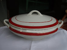 Oval red stripe tureen