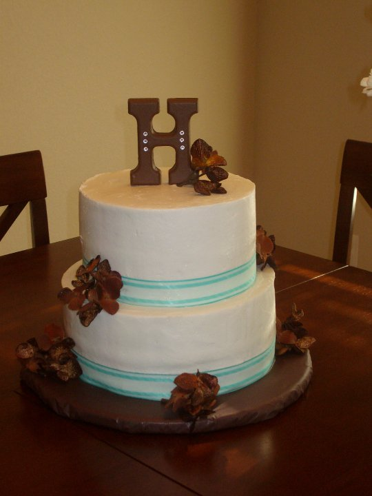 chocolate and teal wedding cakes