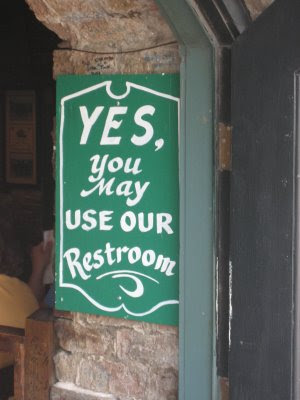 Yes, you may use our restroom