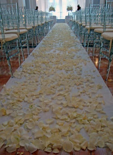 Rose petals in the aisle