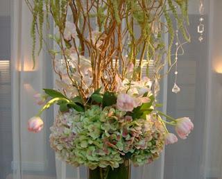 Hydrangeas tulips hanging crystals