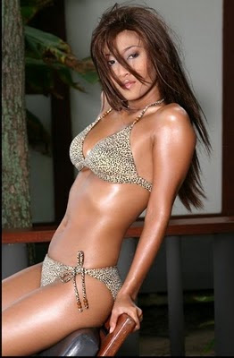 Tiara Lestari in a Leopard print bikini