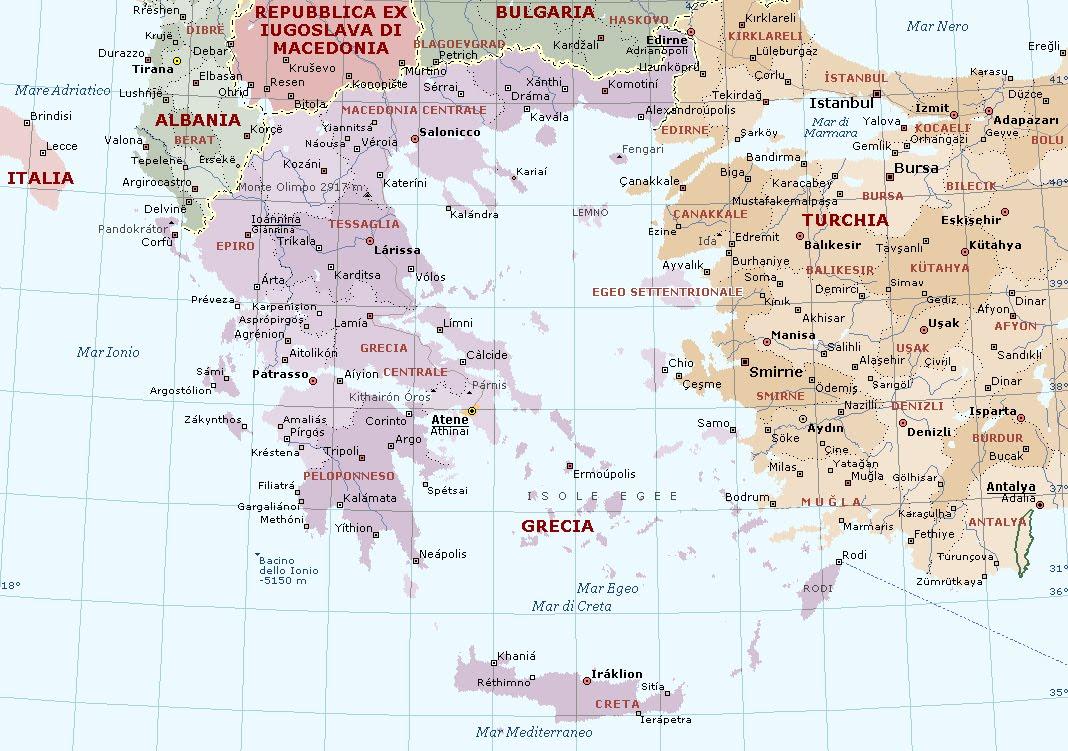 Mappa Muta Grecia Antica Roma