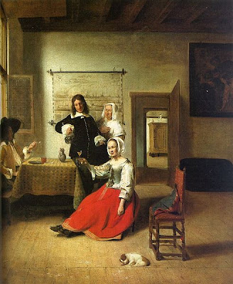 Pieter de Hooch - woman drinking with soldiars