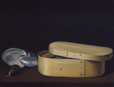 Still Life with a Nautilus, Panther Shell, and Chip-Wood Box, ca. 1630 Sébastien Stoskopff