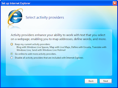 IE 8 setup activity