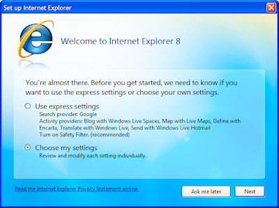 IE 8.1 settings