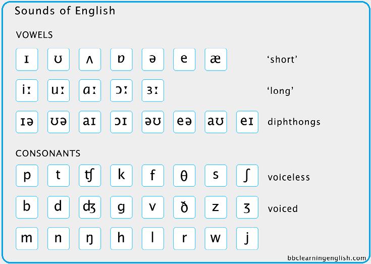 Ниже - все звуки английского