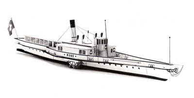Dampfschiff Rigi Steamboat Papercraft