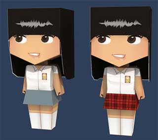 High School Girl Paper Toy
