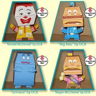 McDonalds Papercraft Characters