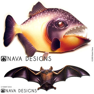 Piranha Vampire Bat Papercraft
