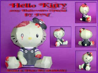 Hello Kitty Zombie Papercraft
