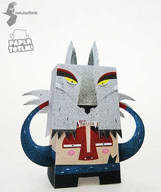 Paper Totem Boy WOlf