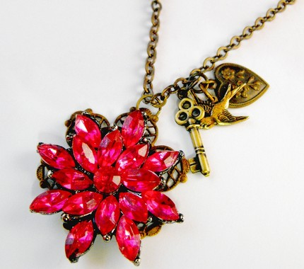 Hot Pink Charm Necklace