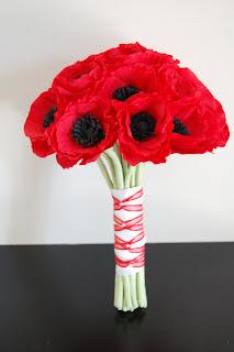 Red anemone wedding bouquet handmade paper flowers by maria noble red anemone wedding bouquet mightylinksfo