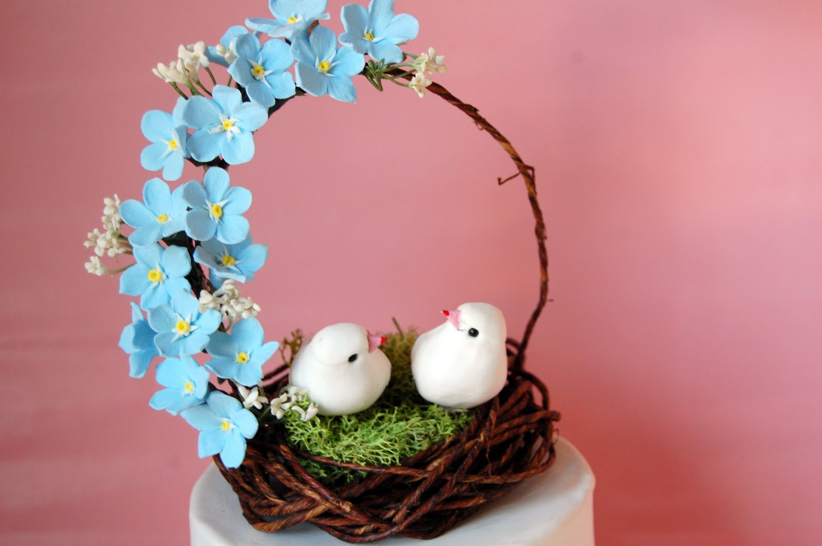 Handmade Forget me nots wedding cake topper bird nest in blue ...