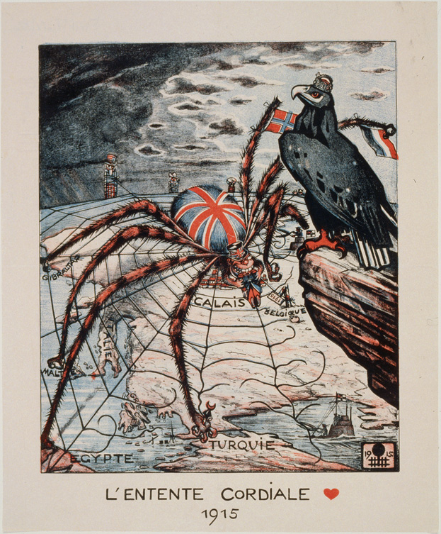 [1917 GERMAN ANTI FRANCE BRITAIN WWI PROPAGANDA POSTER -]