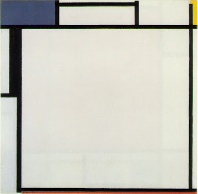 Mondrian Composition with Blue, Yellow, Black, and Red