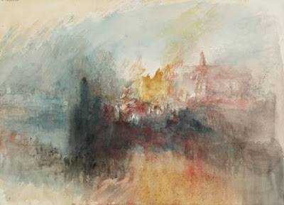 Turner 1775-1851 The Burning of the Houses of Parliament, from the River 1834