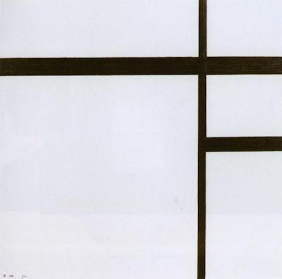 Mondrian. Composition II with Black Lines. Compositie nr.2 met swarte lijnen 1930