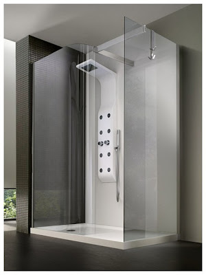 modern shower and bathroom fixture set enclosures