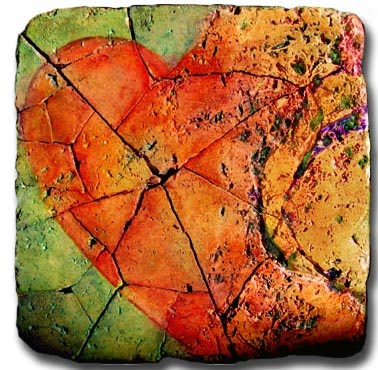 "explosion of love heart of stone 6""x6"" painting on travertine stone"